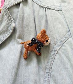 Crochet Brooch Bambi Brooch Deer Brooch Fawn Brooch by krokrolamb