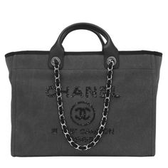 Chanel Large Charcoal Canvas With Sequins Deauville Tote