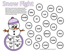 FREEBIE!!! CVC vs CVCe Long Vowel vs Short Vowel, Silent e word fluency center game