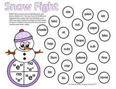 Long Vowel Game: Snowman SPLAT | Lesen, lange Vokale und Alternativ
