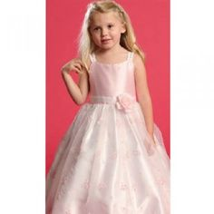 Angels Garment Pink Faux Shantung Flower Girl Occasion Dress 2T-6