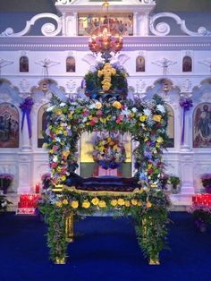 PASCHA, Orthodox Easter, is my favorite time of year!  This photo of the Epitaphio is from Good Friday Services this evening.  For two days it has been raining heavily, but miraculously it cleared long enough for the outdoor procession.  May 3, 2013