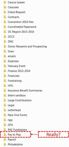 """But the most interesting, and perhaps damning, finding is the following: a root directory snapshot revealing a folder which Hillary may have some trouble explaining: """"Pay to Play""""  Guccifer"""
