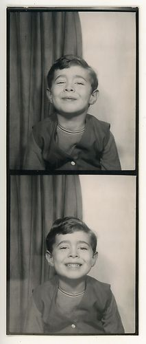 ** Vintage Photo Booth Picture **   Smiling just like his Mom told him to.