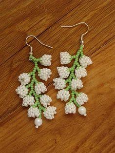 Beaded clusters of lilies of the valley earrings handmade. Delicate earrings with pendants in the fo Seed Bead Jewelry, Bead Jewellery, Seed Bead Earrings, Beaded Earrings, Earrings Handmade, Handmade Jewelry, Flower Earrings, Seed Bead Flowers, Beaded Flowers
