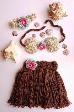 Check out Hula Skirt - Girls Hula Skirt - Hula Girl - Baby Hula Skirt - Newborn Crochet Outfit - Baby's First Pictures - Hawaiian Hula Girl - Handmade on bellafarfallaboutiqu