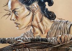 Colored pencil drawing of Rey (Daisy Ridley) from Star Wars by Laura Filipovics