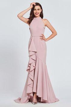 Trumpet High Neck Ruffles Evening Dress 2019 - My style Stylish Dresses, Elegant Dresses, Fashion Dresses, Formal Dresses, Wedding Dresses, High Neck Formal Dress, Dresses Dresses, Women's Fashion, Fashion Trends