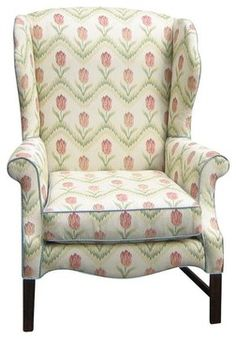 Used Updated Wing Chair in Kravet Floral - farmhouse - Armchairs - Chairish
