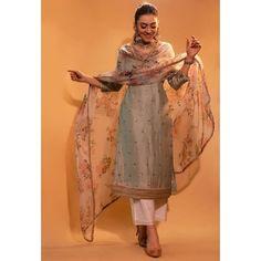 Beige grey bambu tapeta silk salwar suit Casual Indian Fashion, Indian Fashion Dresses, Dress Indian Style, Fashion Outfits, Kurta Designs, Kurti Designs Party Wear, Salwar Suit Neck Designs, Pakistani Dress Design, Pakistani Outfits