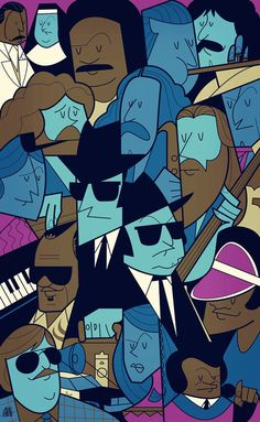 The Blues Brothers, By Ale Giorgini, an Italian illustrator and graphic designer. The artist has created a series of cult films poster turned graphically into cartoon.