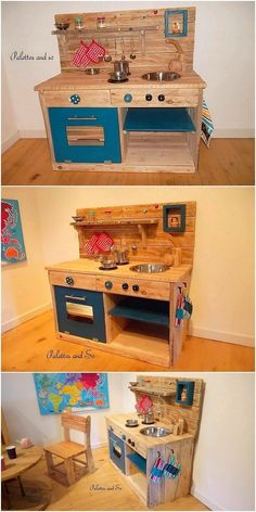 Inexpensive DIY Shipping Wood Pallet Recycling Projects: Catching with some of the cheap and inexpensive ideas of the shipping wood pallet recycling projects is the ultimate wish of. Mud Kitchen For Kids, Toy Kitchen, Kitchen Pantries, Recycled Furniture, Pallet Furniture, Kitchen Furniture, Pallet Art, Pallet Projects, Wood Pallet Recycling