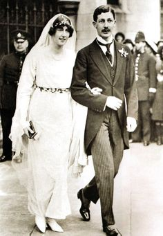 Harold MacMillan (future Prime Minister of the United Kingdom) on his wedding day with his bride, the former Lady Dorothy Cavendish, daughter of the 9th Duke of Cavendish - 1920