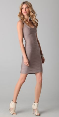 Herve Leger Signature Essentials Scoop Neck Dress Paired with a navy blue cardigan or suit jacket !