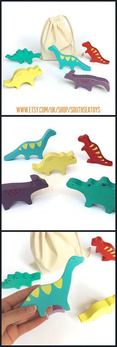 Set of wooden toy dinosaurs - painted bright colours - waldorf animal figurines - eco friendly gift for kids boys and girls