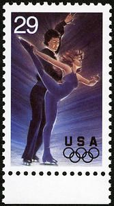 Elaborate costumes, form, grace, and charismatic melodies combine to make Ice Dancing an Olympic favorite. This 25-cent Olympic winter sports stamp was issued on January 6, 1994.