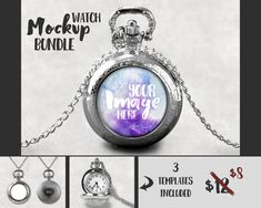 Silver Round Watch Pendant Mockup Template by styledproductmockups