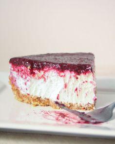 Lighter Blueberry Cheesecake Recipe using Greek yogurt from gimmesomeoven