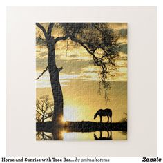 Horse and Sunrise with Tree Beautiful Jigsaw Puzzle Make Your Own Puzzle, Custom Gift Boxes, Horse Pictures, Oak Tree, Sticker Shop, High Quality Images, Jigsaw Puzzles, Christmas Crafts, Sunrise