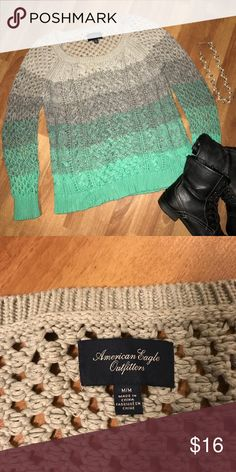 American Eagle Cable Knit Sweater, Beautiful! Ombré-like in shades of aqua and gray. Just right for cool weather. No defects, looks new. American Eagle Outfitters Sweaters Cardigans