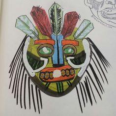 That time Frankie led a tribal war.  #grimcartoons #frankieoftheday #Frankenstein #frankie #tribal #warrior #mask #illustration