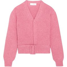 Victoria Beckham Belted wool cardigan (€855) ❤ liked on Polyvore featuring tops, cardigans, jackets, outerwear, pink, sweaters, relaxed fit tops, victoria beckham, wool top and pink wool cardigan