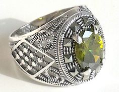 925 STERLING SILVER MEN'S RING WITH PERIDOT (ZABARGAD) -TOTALLY HANDMADE-UNIQUE  #Handmade