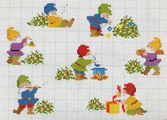 noël - christmas - nain - houx - cadeau - point de croix - cross stitch - Blog : http://broderiemimie44.canalblog.com/