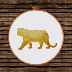 Geometric Tiger cross stitch pattern Minimalist by ThuHaDesign