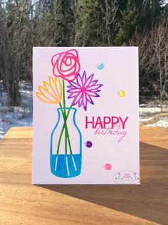 Sheena Joy -  Birthday Card with Concord & 9th Bouquet Die