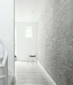 White-washed brick interior