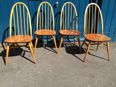 SOLD: Set of four Ercol windsor 'quaker chairs' in blonde beech/elm. Vintage/Retro/Dining Chairs.