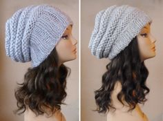 Hand Knit Grey Slouchy Beehive Hat Slouchy by BoPeepsBonnets, $42.00