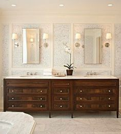 Gorgeous Master vanity with tons of storage. Love the separate mirrors!!!