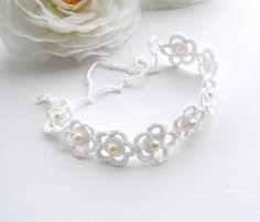 Crochet Bracelet White Bracelet Daisy Bracelet by CraftsbySigita