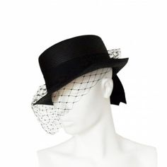 Vintage black straw riding hat with veil and bow by Bermona Trend (4)