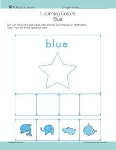 Teaching toddlers colors can be a fun and dynamic activity. This worksheet is all about blue color. Download, print it, cut out and have fun!