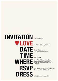 Wedding Invitation U0026 RSVP Retro Hearts Red Cream Black Funky   Printable  Designs Love It! Doing It! Http://www.vintagevinylcds.com/
