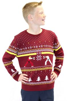 Win the fight for festive cheer, with this amazing Ken Vs. Ryu Street Fighter Christmas Jumper! Because when you look this good you've already won half the battle. Ken and Ryu have always had the occasional sparring match, and now you can walk around with the battle between two titans of gaming taking place on your jumper!