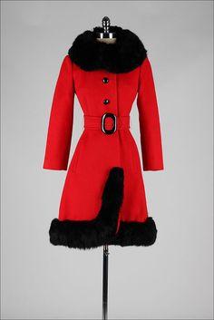 vintage 1960s coat . red wool princess . by millstreetvintage