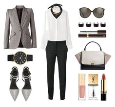 """""""#Street Style: Prince of Wales Check Blazer"""" by sandycyh ❤ liked on Polyvore featuring Alexander McQueen, T By Alexander Wang, STELLA McCARTNEY, Alexander Wang, Linda Farrow Luxe, Marc by Marc Jacobs, Dolce&Gabbana, Yves Saint Laurent, Revlon and Tom Ford"""