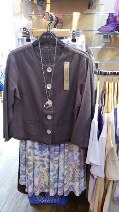 Truffle linen jacket by Viz-a-Viz also available in bright turquoise lime & leaf pattern