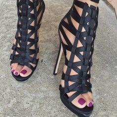 from @brian_atwood. love a caged sandal.