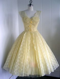 pale yellow vintage dress