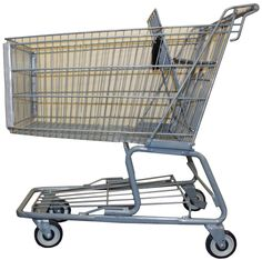 Large Gray Reconditioned Metal Shopping Cart