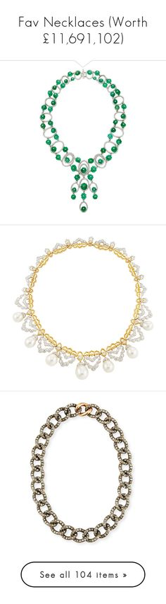 """""""Fav Necklaces (Worth £11,691,102)"""" by fendilicious ❤ liked on Polyvore featuring jewelry, necklaces, 18k jewelry, clasp necklace, 18k diamond necklace, iridescent jewelry, 18 karat gold necklace, accessories, white pearl necklace and pearl jewelry"""