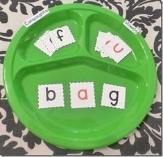 Word work: I like the idea of using a plate to define consonants & vowels... Plus, it  might help show that blends and digraphs work like single consonants in many patterns.
