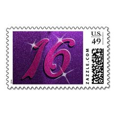 Purple and Pink Sweet Sixteen Birthday Stamps