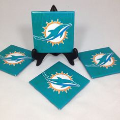 "Set of Four ""Miami Dolphins New Logo"" Tile Coasters on Etsy, $14.00"