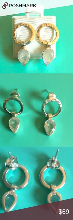 a0c79845f Moonstone and Sterling Silver Earrings Sterling silver .950 and natural  moonstone post earrings 7/
